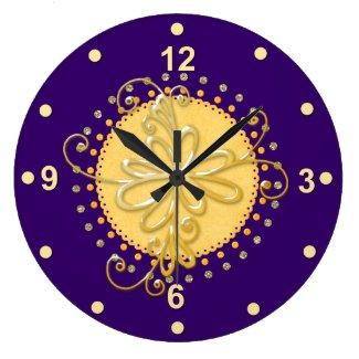 Stylish Purple & Yellow Wall Clock