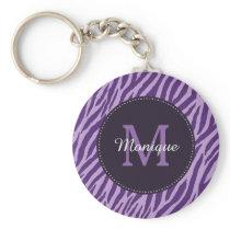 Stylish Purple Zebra Print With Monogram and Name Keychain