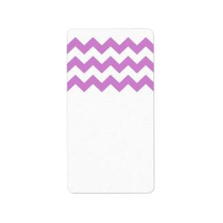 Stylish purple zig zags zigzag chevron pattern label