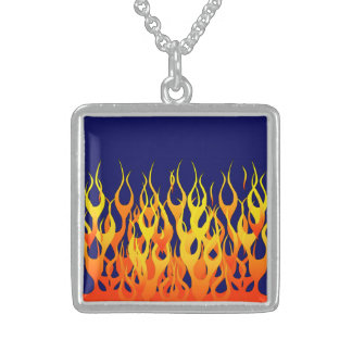 Stylish Racing Flames Fire on Navy Blue Sterling Silver Necklace