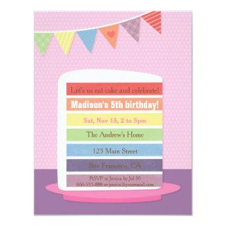 Stylish Rainbow Cake Birthday Party Invitations