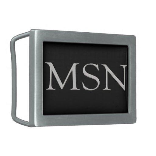 "Stylish Raised ""MSN"" Initials Belt Buckle"