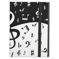 Stylish random musical notes design in black and w iPad folio cases