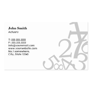 Stylish Random Numbers Actuary Business Card