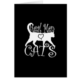 Stylish Real Men Love Cats on a black decor Card