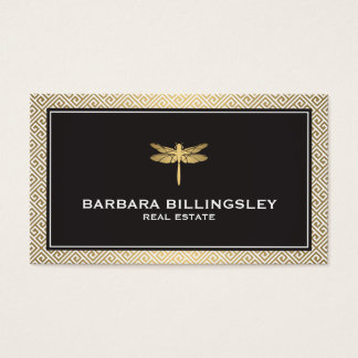 Stylish Realtor, Interior Designer Dragonfly Gold Business Card
