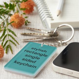 Stylish rectangle single sided keychain