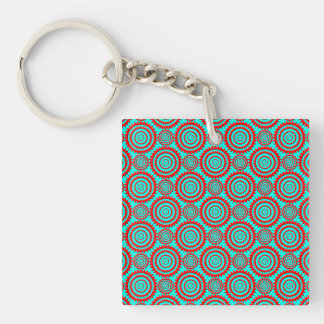 Stylish Red and Turquoise Modern Pattern Keychain