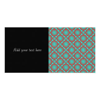 Stylish Red and Turquoise Modern Pattern Photo Card