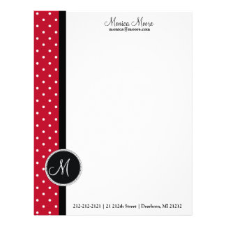 Stylish Red and White Dots/Monogram Letterhead