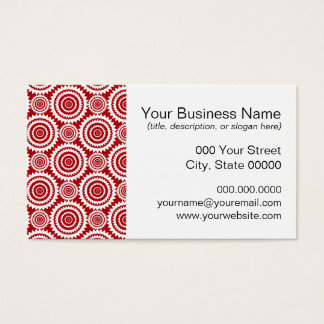 Stylish Red and White Geometric Pattern Business Card