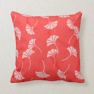 Stylish Red and White Ginkgo Leaves Throw Pillow