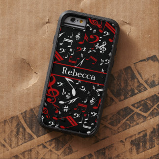 Stylish Red and white Musical notes on black Tough Xtreme iPhone 6 Case
