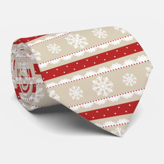 Stylish Red Beige White Christmas Snowflakes Tie