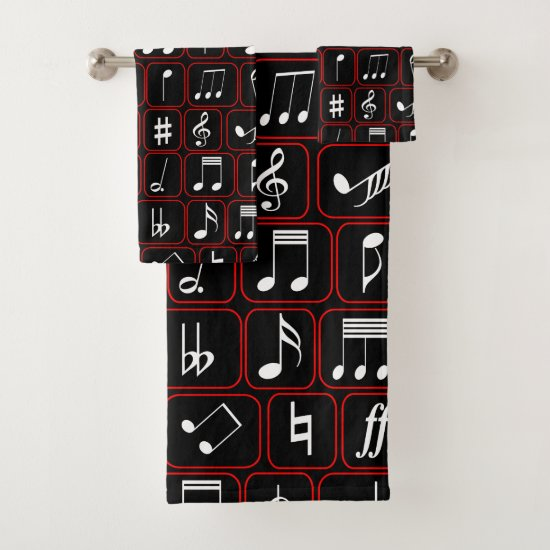 Stylish Red Black and White Geometric Music Notes Bath Towel Set