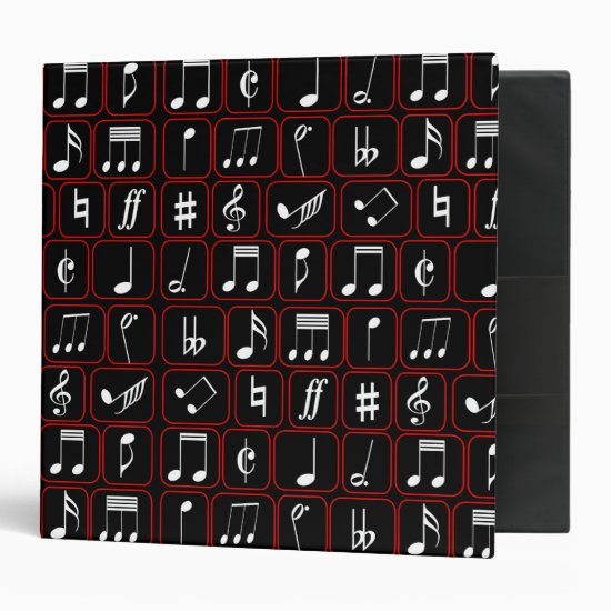 Stylish Red Black and White Geometric Music Notes Binder