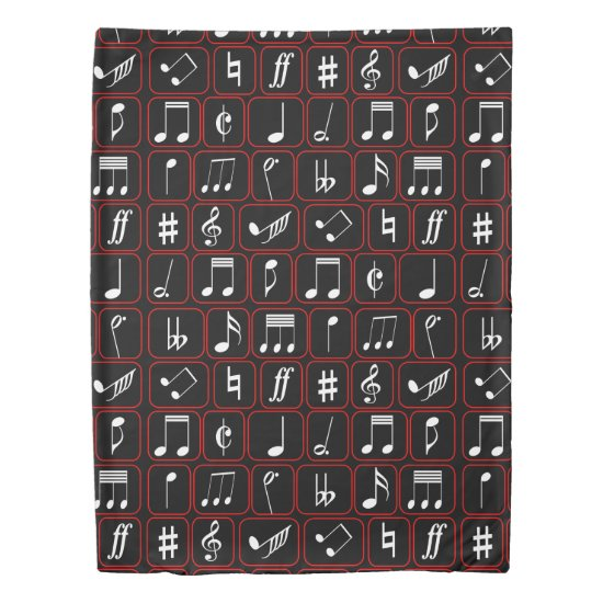 Stylish Red Black and White Geometric Music Notes Duvet Cover