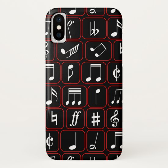 Stylish Red Black and White Geometric Music Notes iPhone XS Case