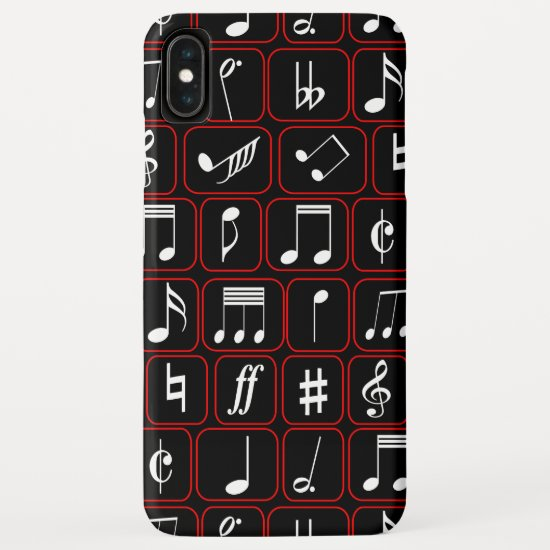 Stylish Red Black and White Geometric Music Notes iPhone XS Max Case