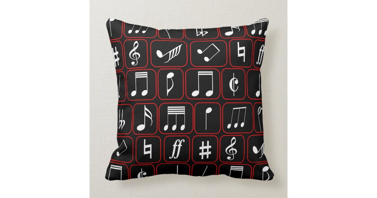 Stylish Red Black and White Geometric Music Notes Throw Pillow Zazzle