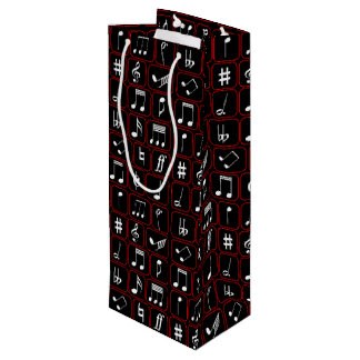 Stylish Red Black and White Geometric Music Notes Wine Gift Bag