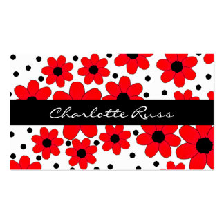 Stylish Red & Black Flowers Custom Mommy Card Double-Sided Standard Business Cards (Pack Of 100)