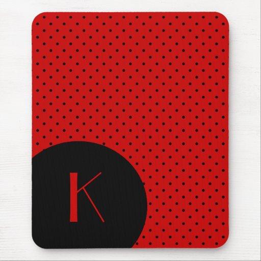 Stylish Red & Black Polka Dot Monogram Mousepad