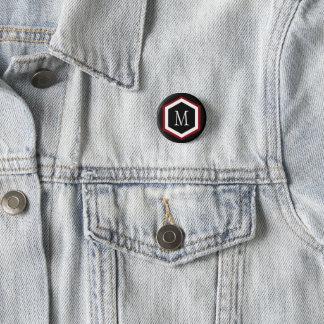 Stylish Red, Black & White Hexagon Circle Monogram Pinback Button
