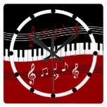Stylish Red Black White Piano Keys and Notes Square Wall Clocks