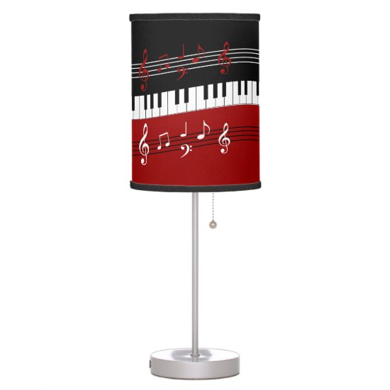 Stylish Red Black White Piano Keys and Notes Desk Lamp