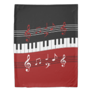 Stylish Red Black White Piano Keys and Notes Duvet Cover