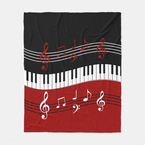 Stylish Red Black White Piano Keys and Notes Fleece Blanket
