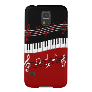 Stylish Red Black White Piano Keys and Notes Galaxy S5 Cover