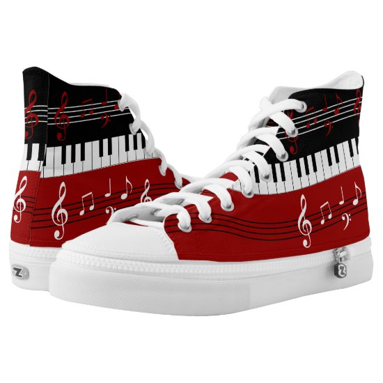 Stylish Red Black White Piano Keys and Notes High-Top Sneakers