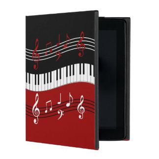 Stylish Red Black White Piano Keys and Notes iPad Folio Case