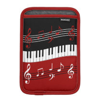 Stylish Red Black White Piano Keys and Notes iPad Mini Sleeve