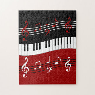 Stylish Red Black White Piano Keys and Notes Jigsaw Puzzle