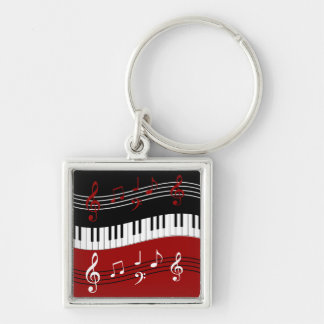 Stylish Red Black White Piano Keys and Notes Keychain