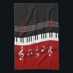"""Stylish Red Black White Piano Keys and Notes Kitchen Towel<br><div class=""""desc"""">A cool and eye-catching piano music design featuring piano keys in a waving motion in the center with red, black and white musical notes scores above and below in alternating colors. We welcome custom requests, just use the contact us via our GiftsBonanza store with your request prior to purchase and...</div>"""