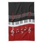 Stylish Red Black White Piano Keys and Notes Kitchen Towel<br><div class='desc'>A cool and eye-catching piano music design featuring piano keys in a waving motion in the center with red, black and white musical notes scores above and below in alternating colors. We welcome custom requests, just use the contact us via our GiftsBonanza store with your request prior to purchase and...</div>