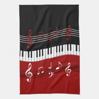 Stylish Red Black White Piano Keys and Notes Kitchen Towel