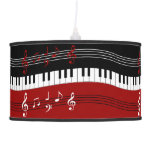Stylish Red Black White Piano Keys and Notes Hanging Lamps