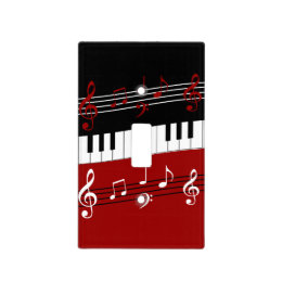 Stylish Red Black White Piano Keys and Notes Light Switch Cover