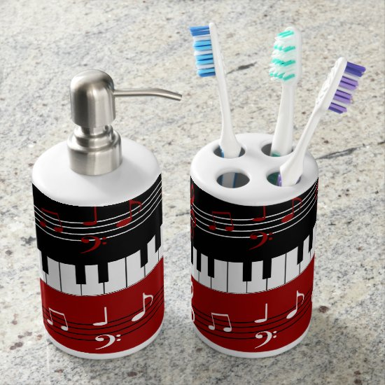 Stylish Red Black White Piano Keys and Notes Soap Dispenser And Toothbrush Holder