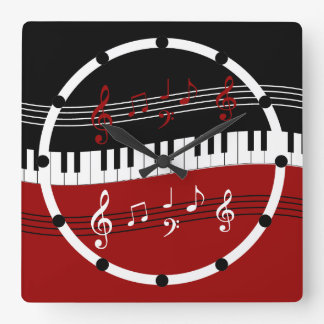Stylish Red Black White Piano Keys and Notes Square Wall Clock