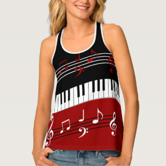 Stylish Red Black White Piano Keys and Notes Tank Top