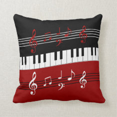 Stylish Red Black White Piano Keys And Notes Throw Pillow at Zazzle