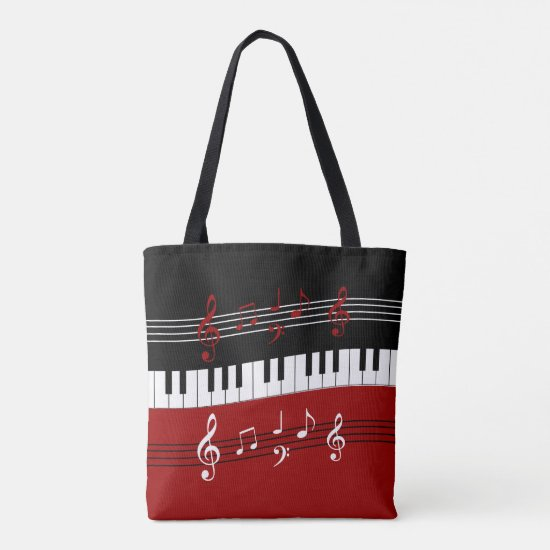Stylish Red Black White Piano Keys and Notes Tote Bag