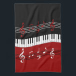 """Stylish Red Black White Piano Keys and Notes Towel<br><div class=""""desc"""">A cool and eye-catching piano music design featuring piano keys in a waving motion in the center with red, black and white musical notes scores above and below in alternating colors. We welcome custom requests, just use the contact us via our GiftsBonanza store with your request prior to purchase and...</div>"""