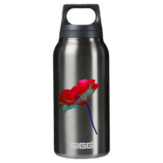 Stylish red blue poppy flower on smoked pearl insulated water bottle